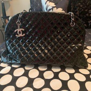Chanel black patent leather bag
